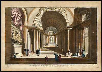 Antique Optical Print-ST PETER'S BASILICA-ROME-VATICAN-ITALY-HALL-Daumont-1770