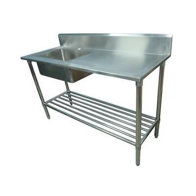 600x1700mm NEW COMMERCIAL SINGLE BOWL KITCHEN SINK #304 STAINLESS STEEL BENCH E0