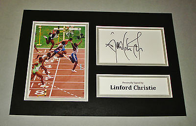 Linford Christie Signed A4 Photo Display Olympics Autograph Memorabilia + COA