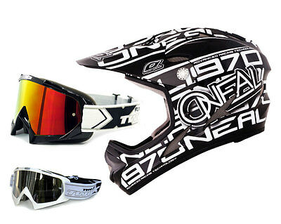 Oneal Backflip Evo Helm Race black Downhill DH MTB + TWO-X Race MX Brille