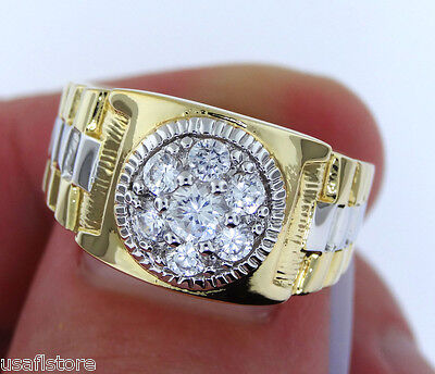 Mens RX Two Tone 18kt Gold Plated Fashion Ring New