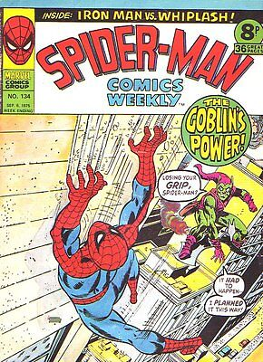 Spider-Man Comics Weekly_#134_Bronze Age Comic_UK Variant_1975_VG+ 4.5