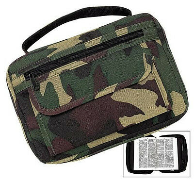 NEW! Woodland Camo/Camouflage Bible & Book Cover *Full-Size* Carry Case