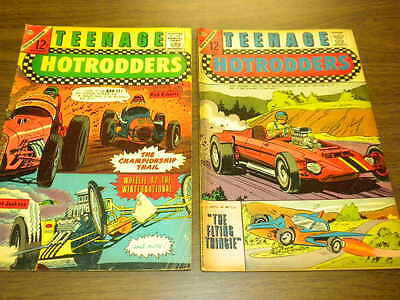 TEENAGE HOTRODDERS #14 and #24 Charlton Comics 1965-1967 lot racing cars