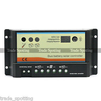 Dual Duo Battery 10A Solar Panel Charge Controller Regulator  EPIP20DB-COM