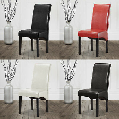 Dining Chair Faux Leather Scroll Back High Back Roll top Living Room Office New
