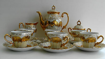 Vintage STERLING CHINA 17 Piece Tea Set Gold Overlay Opalescent Flowered Japan