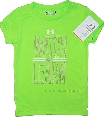 UNDER ARMOUR SPORTS TEE ATHLETIC GRAPHIC T SHIRT KIDS ACTIVE Green LITTLE GIRLS