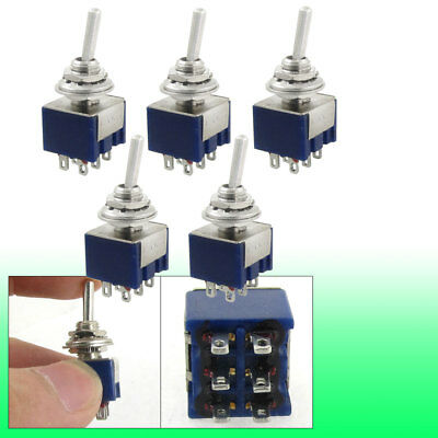 5 Pcs AC 125V 6A Amps ON/OFF/ON 3 Position 6 Terminals DPDT Mini Toggle Switch