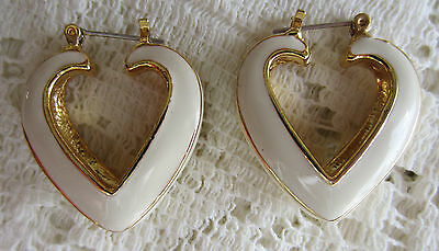 Vintage Cream Enamel Gold Tone Open Heart Pierced Earrings