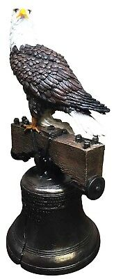 Independence Day American Patriotic Bald Eagle Liberty Bell Home Patio Statue