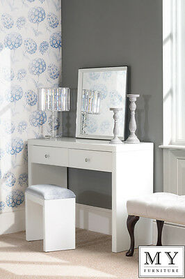 Chelsea White Glass high gloss Mirrored furniture Dressing Console table 2Legs