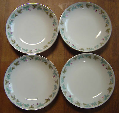MS FINE CHINA OF JAPAN 6701 VINTAGE 5 SOUP SALAD BOWLS GRAPES AND LEAVES