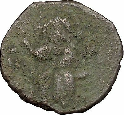 JESUS CHRIST Class F Anonymous Ancient 1059AD Rare Byzantine Follis Coin  i39426
