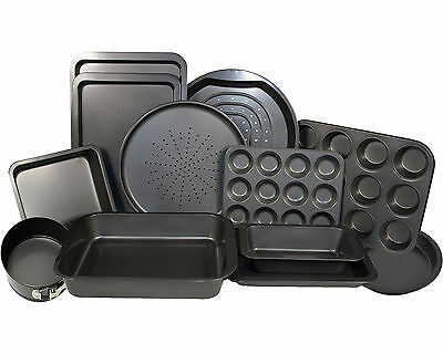 14 Piece Non Stick Carbon Steel Oven Cake Baking Roasting Bakeware Trays Brownie