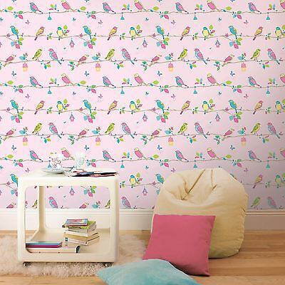 HOOPLA PRETTY BIRDS PINK 10m WALLPAPER NEW BEDROOM DECOR FEATURE WALL FREE P+P