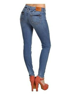 $238 NEW True Religion Jeans Halle Mid-Rise Skinny Leggings Medium Blue Denims