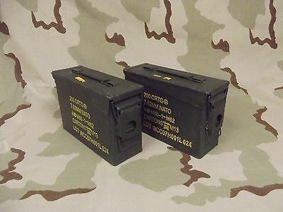 2(Two) GI 30cal M19A1 Ammo Cans Boxes Army Military Surplus Grade 2 Very Good