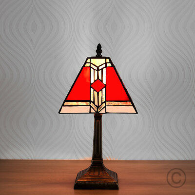 Antique Brass Effect Vintage Tiffany Style Red & White Glass Table Lamp Light