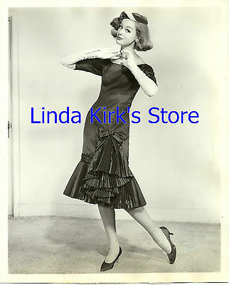 Vintage Fashion Model Wearing Pleated Dress & Long White Gloves  1950s B&W 8x10