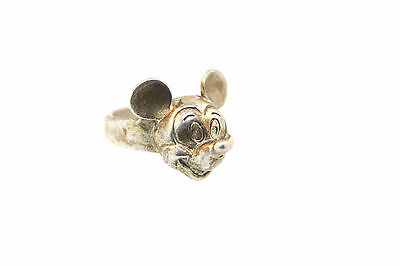 Vintage Walt Disney ~ Mickey Mouse Face 3-D Sterling Ring Sz 5.75
