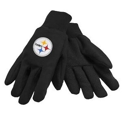 NFL Sport Utility Work Garden Gloves Pittsburgh Steelers Adult Football Blk Yell