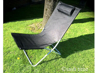 New Folding Sun Lounger Chair Garden Sun Beach Camping Patio Deck Bed Headrest
