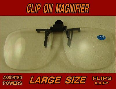 Lg. Clip On Flip Up Magnifying Glasses Readers Clip to most Glasses Choice Power