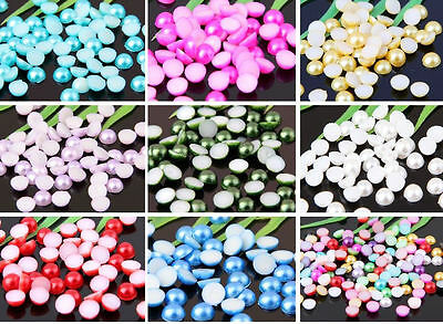 12 colors  Half-round Flatback Acrylic Pearl For Nail Art Phone Craft  4,6,8mm