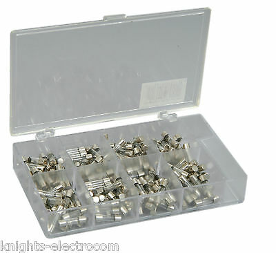 160 x 20mm ASSORTED FUSES  0.5A-10A in a handy box