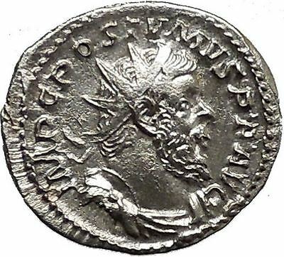 Postumus  260AD RARE Silver Ancient Roman Coin Ship Galley  i39510