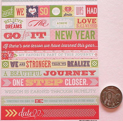 SCRAPBOOKING NO 220 - 22 Piece SMALL DIE CUT CARDSTOCK SAYINGS STICKERS PACK