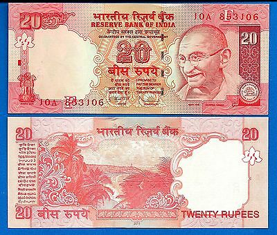India P-96 20 Rupee Year 2011 Gandhi Uncirculated Banknote FREE SHIPPING