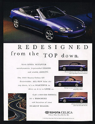 1995 Toyota Celica Convertible Car 4 Photo Redesigned Top Down Vintage Print Ad