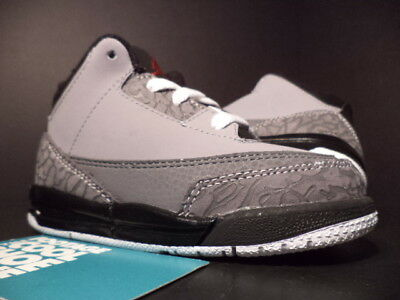 8c99cba7e721 Baby Nike Air Jordan III 3 Retro TD STEALTH CEMENT GREY RED BLACK WHITE 7.5C