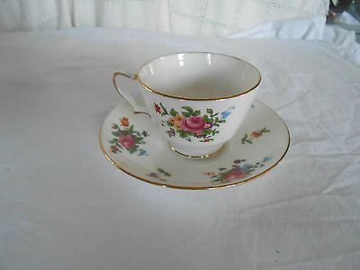 Crown Staffordshire England fine bone china cup & saucer pink roses