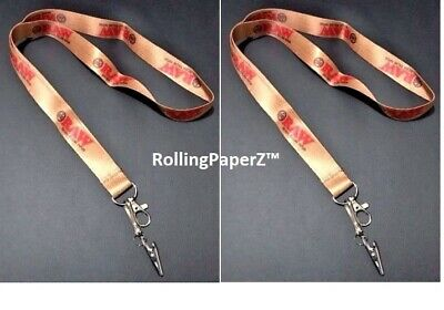 """YOU WILL RECEIVE TWO! RAW Rolling papers brand LANYARD KEYCHAINS - """"RAWSOME!"""""""