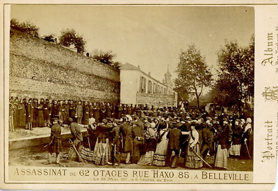 France, Belleville, Assassinat de 62 otages  Vintage albumen print.  Tirage al