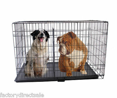 """New 48"""" 3 Doors Folding Pet Crate Dog Cage Suitcase Exercise Playpen W/ Divider"""