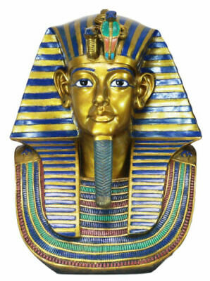 "Large 18.75""H Ancient Egyptian King Tut Bust Statue Burial Mask Nemes Figurine"