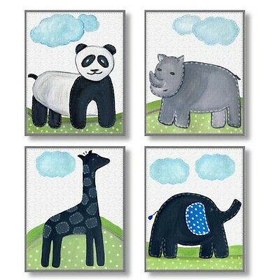 Brooks Safari Animals neutral WALL ART FOR NURSERY decor for baby's room