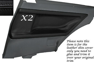 Black Leather 2X Rear Door Card Skin Covers Fits Bmw E36 Coupe 1991-1998