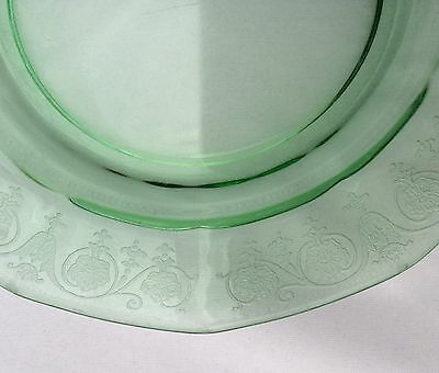 Fostoria green VERNON depression glass etched dessert/cake plate, 4 available