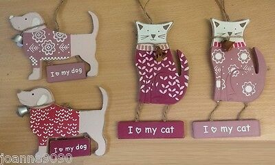 Wooden I Love My Cat Dog Hanging Home Decoration Cute Pets Pink Floral Leaf Gift
