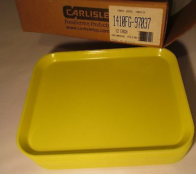 12 CARLISLE 13x10 YELLOW SERVING TRAYS CAFETERIA/ RESTAURANT/ LUNCH/ FAST FOOD
