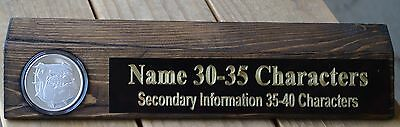 English Bulldog one troy ounce silver personalized wood desk name plate