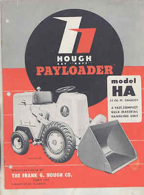 1951 Hough Payloader Model HA Loader Shovel Tractor Brochure wt8622