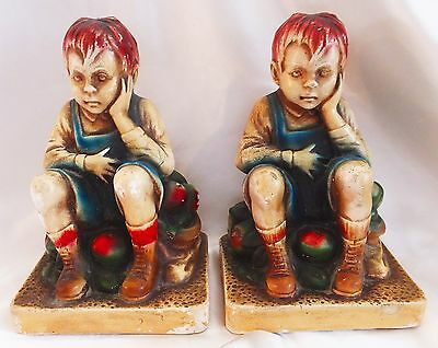 Dated 1944 Pd & Co., Chalkware Bookends - Boy w/Tummy Ache - Eating many Apples