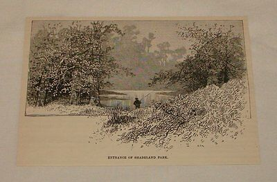 1887 magazine engraving ~ Entrance Of SHADELAND PARK, PA