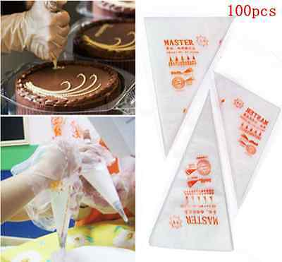 Lots 3 sizes 100pcs Disposable Icing Piping Cake Pastry Cupcake Decorating Bags